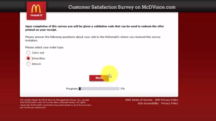 Mcdvoice survey official site