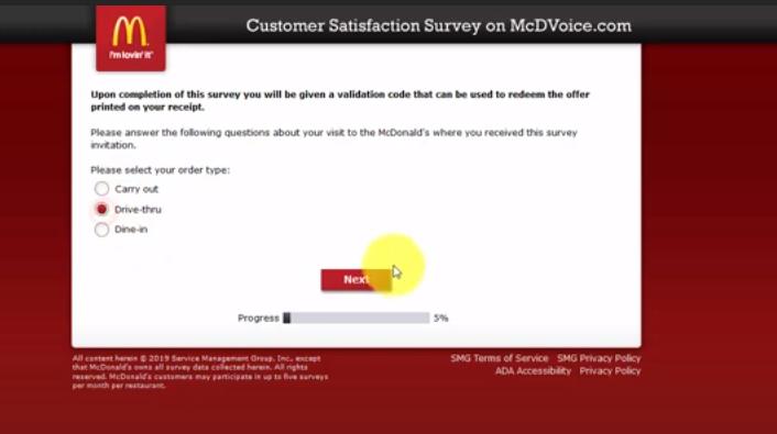 Mcdvoice survey official site