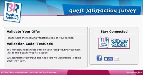 Baskin Robbins Customer Satisfaction Survey